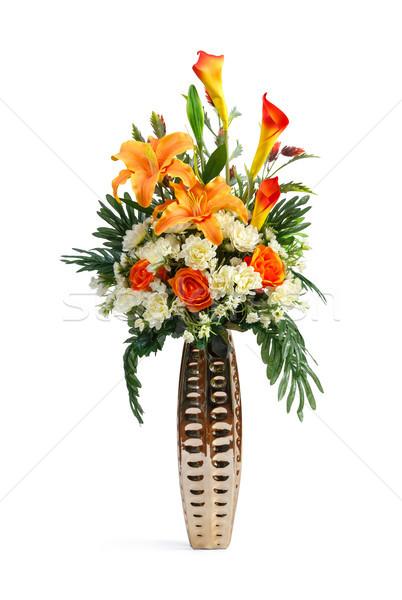 Mesterséges virág kerámia váza közelkép liliom Stock fotó © smuay