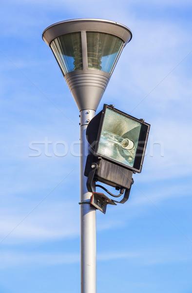 Stock fotó: Reflektor · kék · ég · napos · idő · égbolt · háttér · lámpa