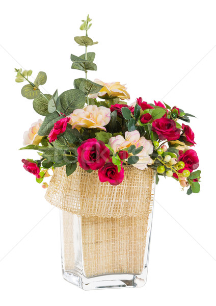 Bouquet of rose and jasmine in glass vase Stock photo © smuay