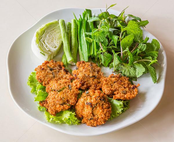 Mély sült fűszeres disznóhús felszolgált zöldség Stock fotó © smuay