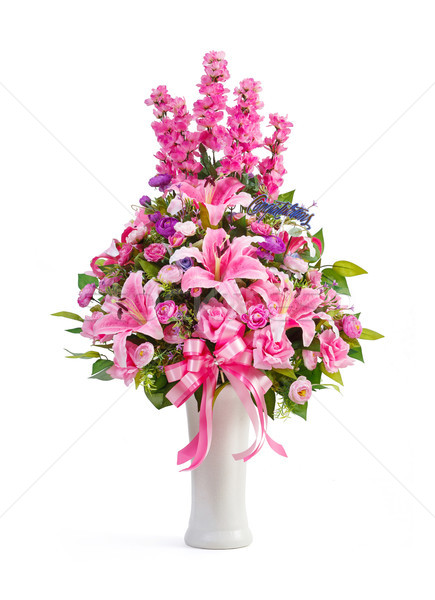 Künstliche Blumenstrauß Keramik Vase Lilie Stock foto © smuay