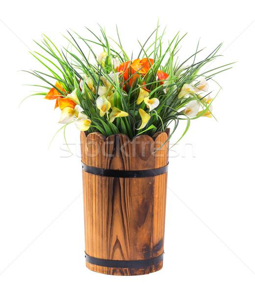 Virágcsokor liliom fű fa vödör izolált Stock fotó © smuay