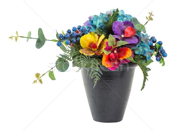 Photo stock: Bouquet · bleu · noir · argile · pot · artificielle