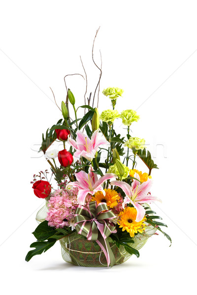 Natural flower bouquet in wicker basket Stock photo © smuay