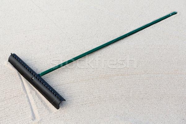 Golf homok gereblye golfpálya felszerlés sport Stock fotó © smuay