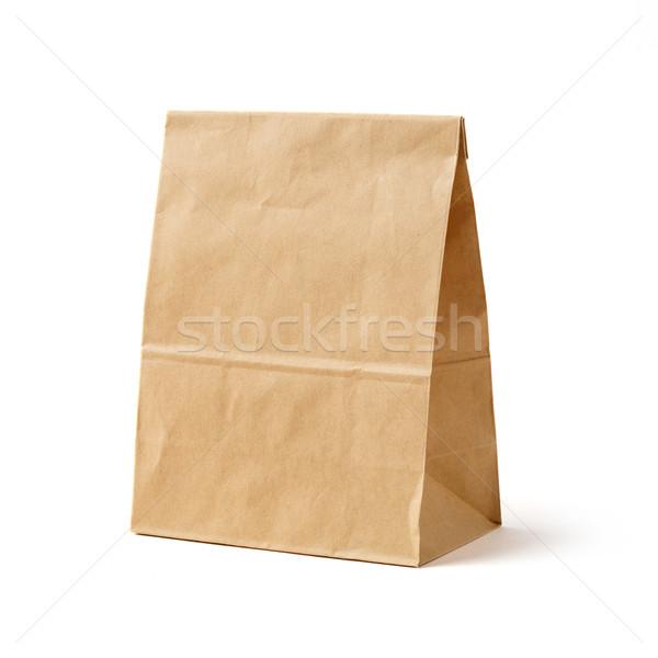 Brązowy kolor torby papierowe odizolowany biały Zdjęcia stock © smuay