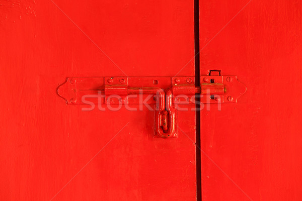 Red door with bolt Stock photo © smuay