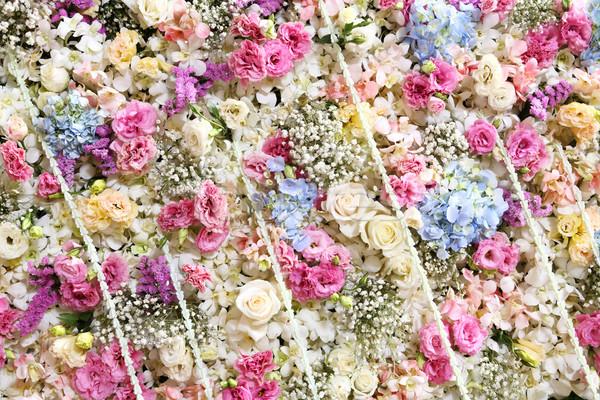 Virág panel háttér dekoráció esküvői ceremónia esküvő Stock fotó © smuay