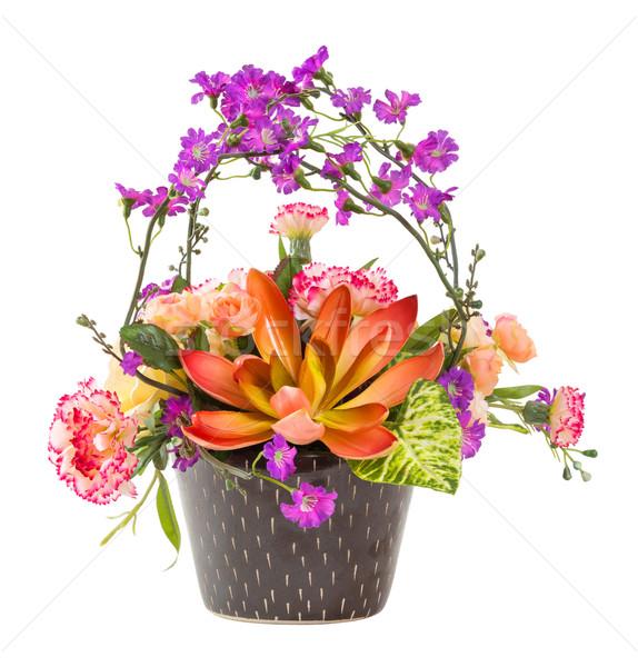 Photo stock: Bouquet · fleurs · brun · couleur · céramique · pot
