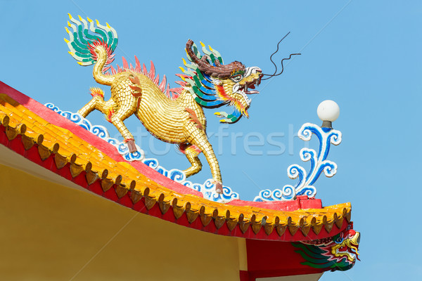 Kirin statue in chinese temple Stock photo © smuay