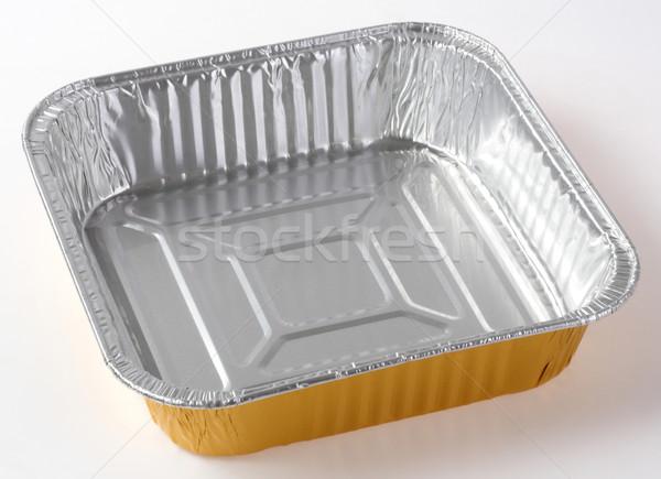 étel tányér izolált fehér fém arany Stock fotó © smuay