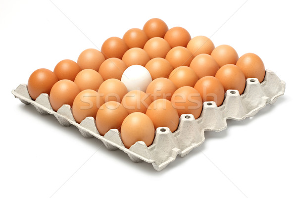 Stock photo: Duck and chicken eggs