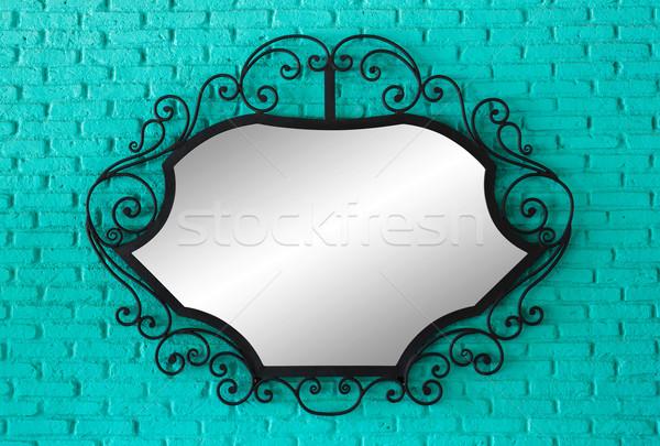 Tükör fekete keret zöld téglafal textúra Stock fotó © smuay