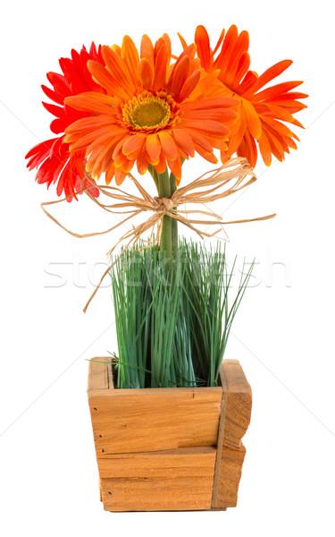 Photo stock: Bouquet · Daisy · décoration · herbe · bois · panier