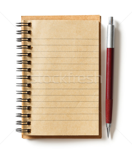 Levélpapír toll közelkép izolált fehér oktatás Stock fotó © smuay