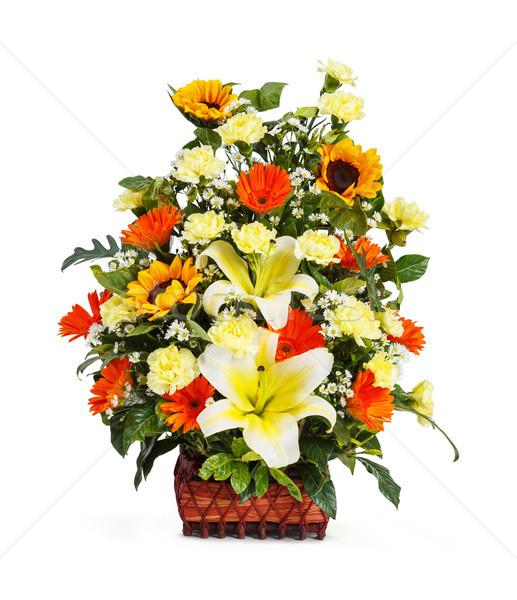 Flower bouquet arrangement in wicker basket Stock photo © smuay