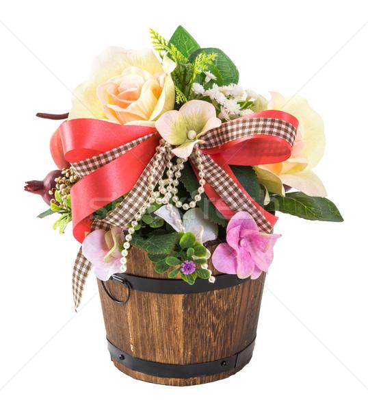 Photo stock: Bouquet · fleurs · bois · seau · isolé · blanche