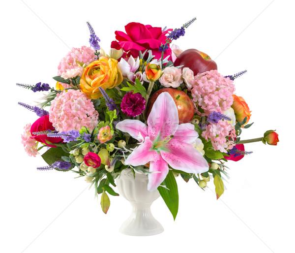 Сток-фото: букет · керамической · ваза · букет · красочный · Лилия