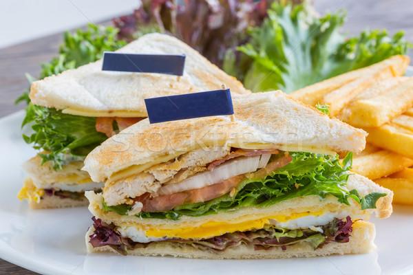 Klub szendvics zászló nagy felszolgált francia sült Stock fotó © smuay