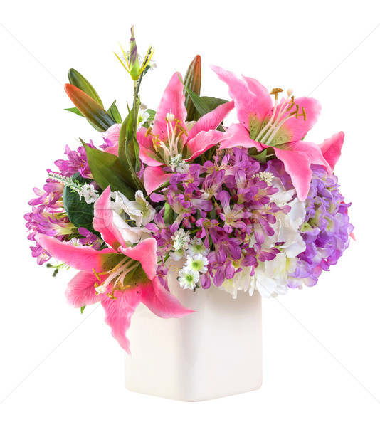 Сток-фото: букет · белый · керамической · банка · букет · розовый