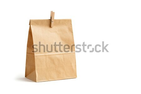 Brown color recycled paper bag with wooden peg Stock photo © smuay