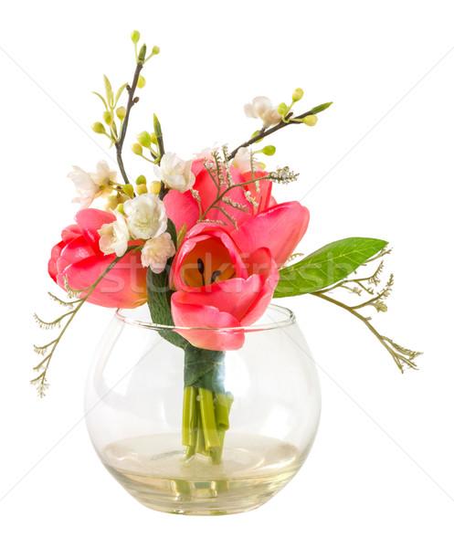 Сток-фото: букет · розовый · Tulip · стекла · ваза · изолированный