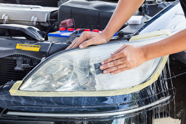 Car lamp polishing Stock photo © smuay