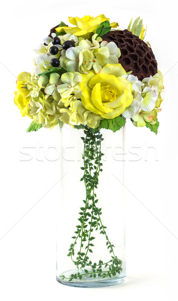 Bouquet of rose and cosmos in glass vase  Stock photo © smuay