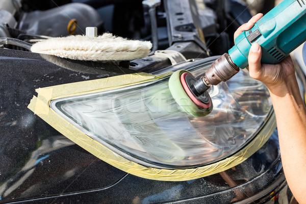 Car lamp polishing Stock photo © smuay