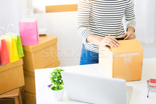 e-commerce delivery concept and online selling start up small bu Stock photo © snowing
