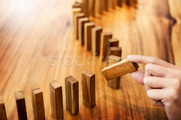 Place a wooden block lines Business man solving a problem Stock photo © snowing