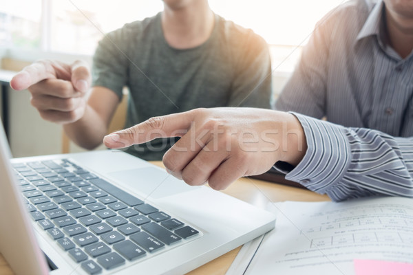 Teaching helping technology concept. Woman young teacher or tuto Stock photo © snowing