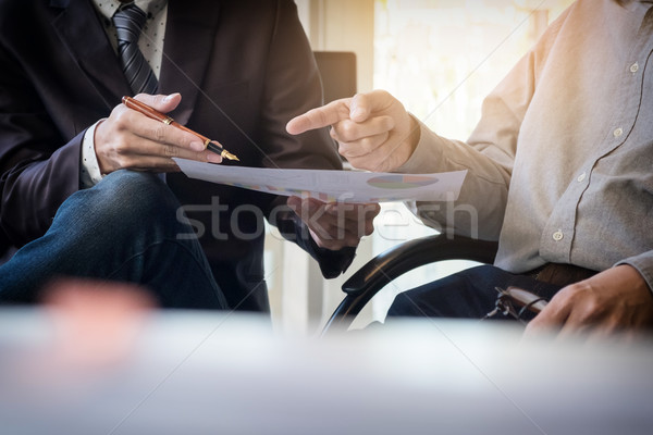 Teamwork process. young business managers crew working with new  Stock photo © snowing