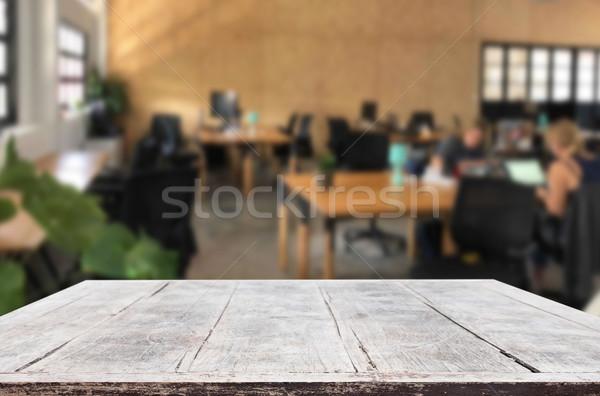 Seçilmiş odak boş kahverengi ahşap masa ofis Stok fotoğraf © snowing