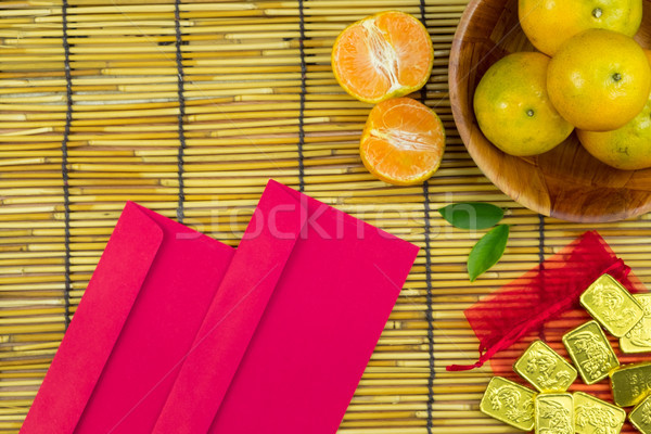 Flat lay holiday of Chinese new year red packet and of accessori Stock photo © snowing