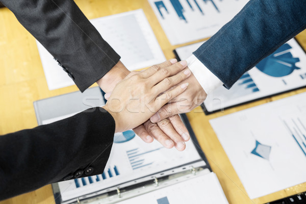 hands of Teamwork Power Successful business brainstorm Meeting W Stock photo © snowing