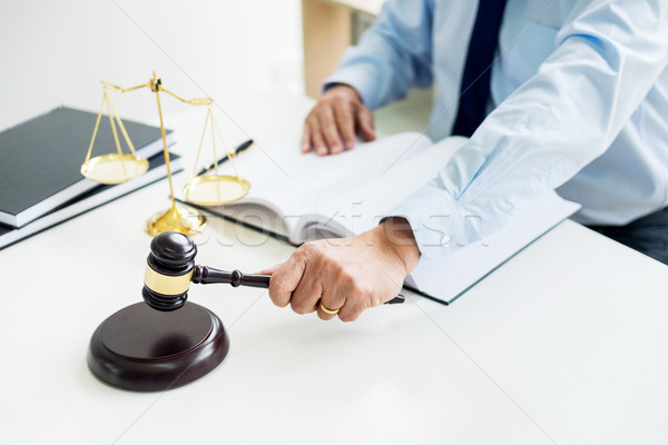 gavel and soundblock of justice law and lawyer working on wooden Stock photo © snowing