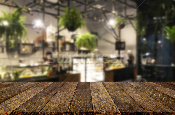 Seçilmiş odak boş kahverengi ahşap masa kahvehane Stok fotoğraf © snowing
