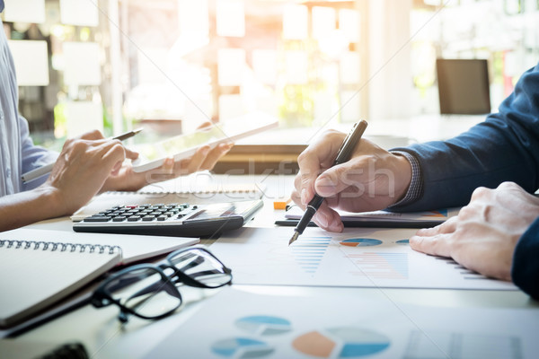 business man financial inspector and secretary making report, ca Stock photo © snowing