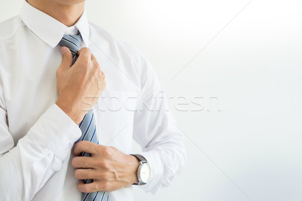 fashion and clothing concept - close up of business man in shirt Stock photo © snowing