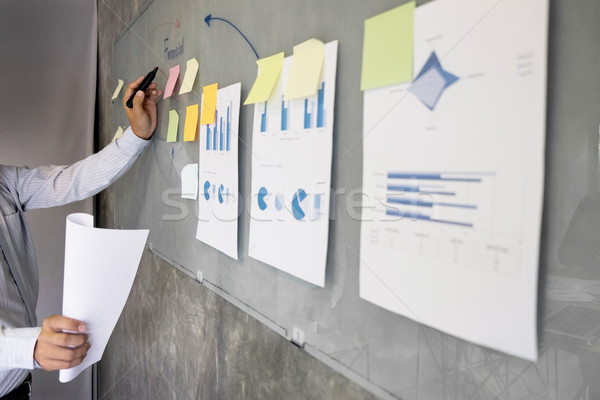 Iş adamı konuşmacı konuşmak finanse kâr grafik Stok fotoğraf © snowing