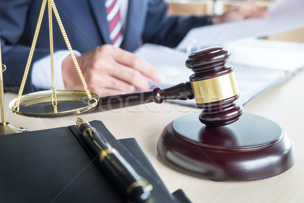 gavel and soundblock fo justice law and lawyer working on wooden Stock photo © snowing