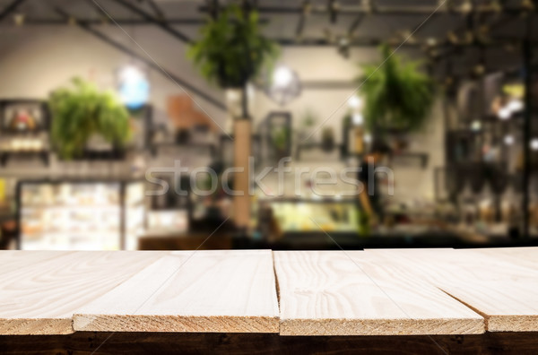 Sélectionné accent vide brun table en bois café Photo stock © snowing