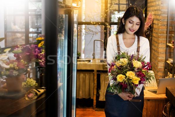 Stockfoto: Jonge · vrouwen · business · eigenaar · bloemist · boeket