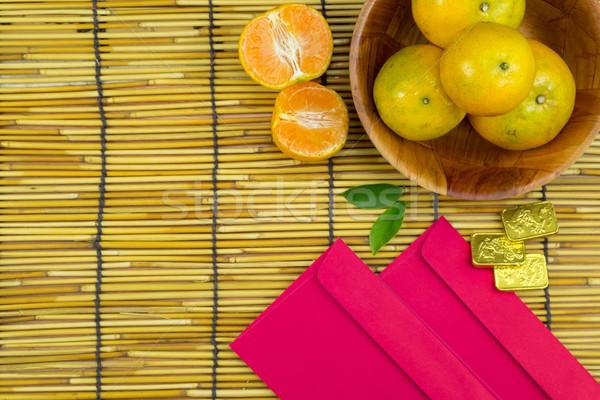 Férias ano novo chinês vermelho flor topo Foto stock © snowing