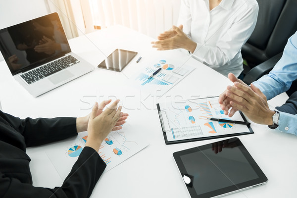 Great presentation! Group of business people in smart casual wea Stock photo © snowing