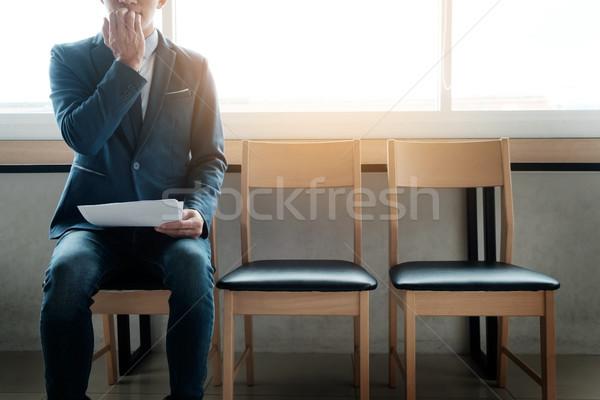 Jóvenes empresario sala de espera ansioso Foto stock © snowing