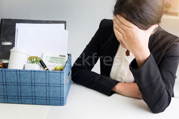 sadness pretty female office worker is fired packing personal be Stock photo © snowing
