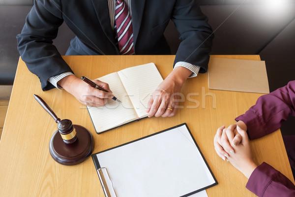 деловые люди Адвокаты договор документы сидят Сток-фото © snowing