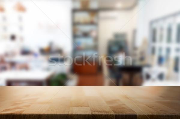 Ausgewählt Schwerpunkt leer braun Holztisch Cafeteria Stock foto © snowing